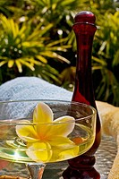 Spa elements, yellow plumeria floating in glass, with glass bottle, loofah and towel