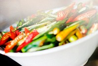 Thailand, Bangkok, Close-up of unusual delicacies found at street vendor food stalls, close-up of a steaming bowl of vegetables