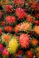 Thailand, Bangkok, Close-up of a heap of dragonfruit for sale at a street stall