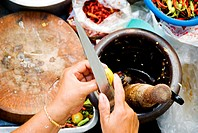 Thailand, Bangkok, Close-up of hands chopping vegetables into a bowl