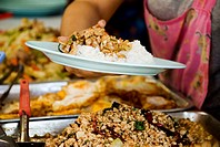 Thailand, Bangkok, Close-up of hands holding a plate of food over a variety of exotic foods