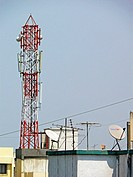 A mobile company tower for mobile signal receiving. Pune, Maharashtra, India