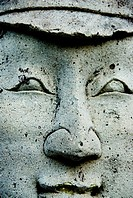Thailand, Bangkok, Wat Mahathat in Ratanakosin, Close-up of a stone face