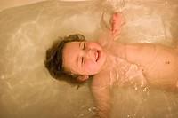 Three year old boy in the bathtub