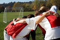 Young Soccer Team Huddling