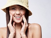 Young Woman Wearing Sunhat