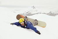 Fallen snowboarder