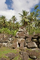 Stopover in Nuku Hiva island, Taipi Vai valley where writer Herman Melville lived before writing his novel Typee. Mea´e Paeke site where 12 tikis have...