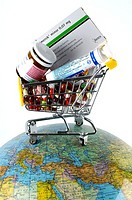 Shopping, cart, with, medicine, on, globe, globalisation, globalization, trade,