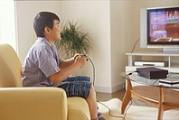 Boy playing TV game