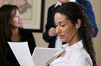 Close-up of a businesswoman reading a document