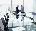Two businessmen meeting and shaking hands in a boardroom