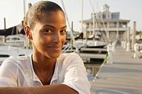 Close up of African woman at marina