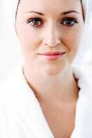 A portrait of a pretty lady in bath robe