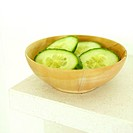 A bowl of sliced cucumbers