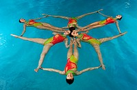 Synchronized swim team performing (thumbnail)