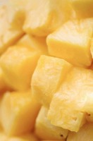Pineapple chunks. Ananas comosus. January 2007, Maryland, USA