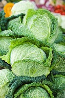 Fresh savoy cabbage at a market