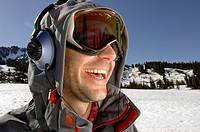 Snowboarder with headphones