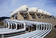 Pipelines in an oil refinery