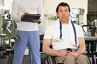 Wheelchair-bound man at gym