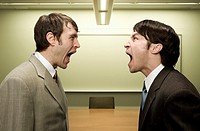 Businessmen shouting at each other