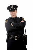 Male police officer with crossed arms