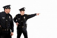 Male police officers pointing (thumbnail)