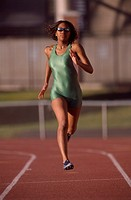 African female athlete running