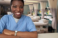 African female nurse in hospital ward (thumbnail)