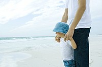 Man standing on beach with son