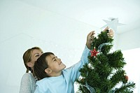 Boy and mother decorating Christmas tree