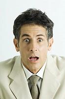 Man making surprised face, portrait