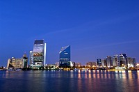 United Arab Emirates, Dubai, Deira, city skyline, dusk