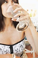 Close-up of woman drinking beverage