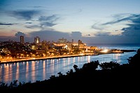 Havana seen from the Cristo de Casablanca at twilight. Cuba