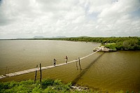 Suspension bridge in the mouth of river Cacoyug&#252;in. Gibara. Holgu&#237;n. Cuba