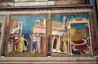 Close-up of murals on the wall of a church, Basilica Of San Francisco, Assisi, Umbria, Italy