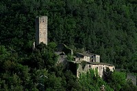 High angle view of an abbey in a valley, St  Peters Abbey, Ferentillo, Umbria, Italy