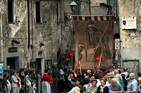 High angle view of a group of people in a parade, Orvieto, Umbria, Italy