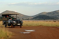 Group of tourists sitting in a car, Pilanesberg Park, North West Province, South Africa