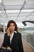 A businesswoman talking on her mobilephone