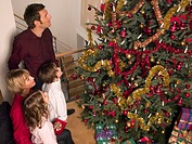 Parents and children looking at their Christmas tree