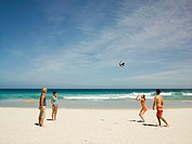Friends playing volleyball on the beach (thumbnail)