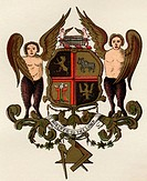Masonic Arms  Painted panel in the possession of W H Y Rylands circa 1860 from the book The History of Freemasonry Volume II  Published by Thomas C. J...