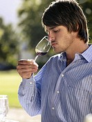 Man tasting wine