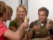 Close-up of two young couples holding wine glasses
