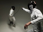 Fencers Practicing