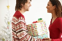 Young Couple Giving Presents in Front of Christmas Tree