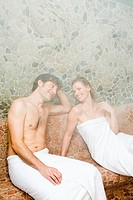 Couple in steam room